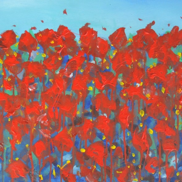square red poppies by Anita Revel