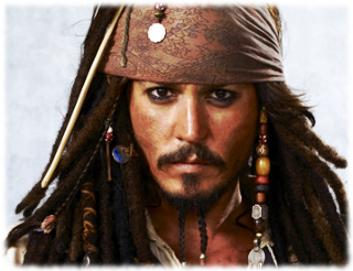 Picture of Captain Jack Sparrow wearing a bandana, dreadlocks, and