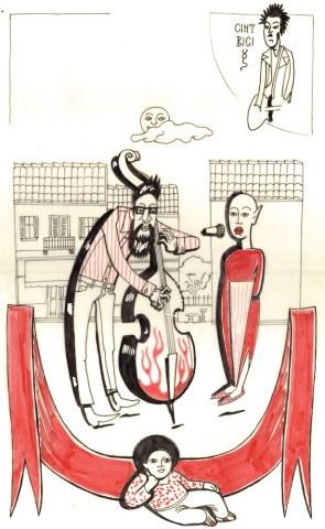 Τα Χριστούγεννα της στριμμένης υψιφώνου, Πέτρας και του αλαφροΐσκιωτου κοντραμπασίστα, Γεράσιμου, εικονογράφηση: Βασίλης Γεωργίου
