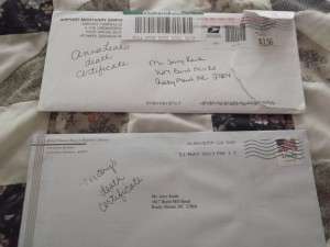 death certificate envelopes