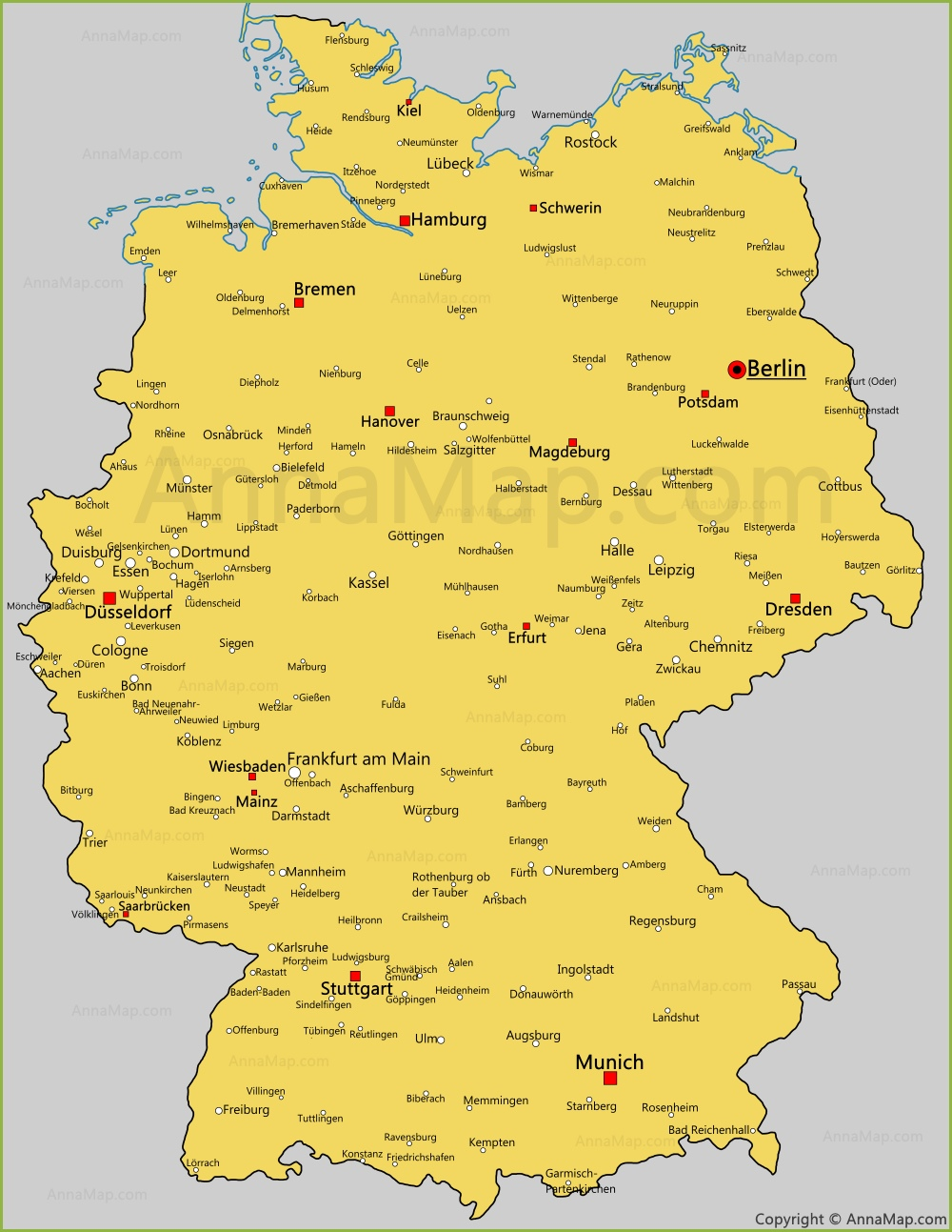 Maps Oldenburg Germany Cities Map Cities And Towns In Germany Annamap