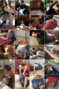 Lots of pictures of a kid sleeping