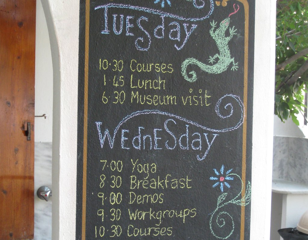 Blackboard with programme