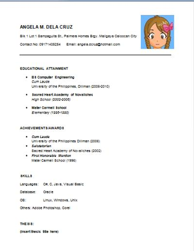 Simple Resume Template. Business Resume Sample Fresh Grad Free
