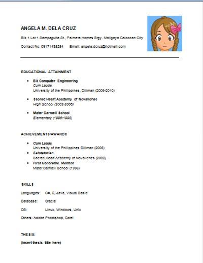 Simple Resume Template. Business Resume Sample Fresh Grad Free