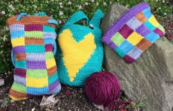 """""""Be the Boss of your Intarsia"""" samples.  L to R: Flat stockinette, garter stitch, ITR (zipper closure)"""
