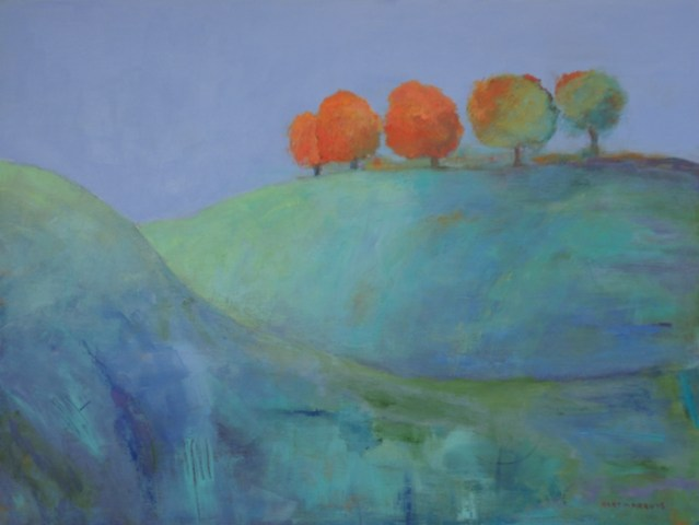 Ann Hart Marquis image of abstract landscape paintings on board