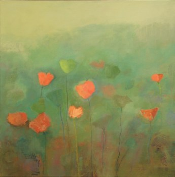 example of painting poppies on a hill