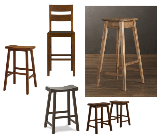 Wood counter stools. Clockwise from left. Target Saddle Seat Walnut $49.99. Crate and Barrel Basque Counter Stool $259. Restoration Hardware Oak Counter Stool $99. Target Walnut Scoop Stools $129/pair. Pottery Barn Tibetan Bar Stool $99.