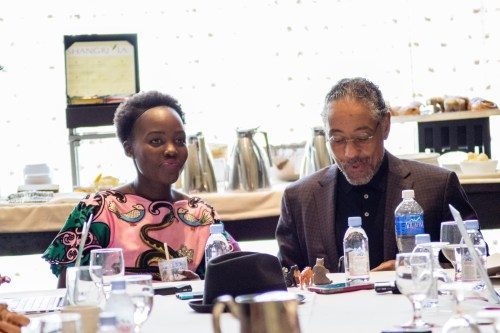 """BEVERLY HILLS - APRIL 04 - Actress Lupita Nyong'o & Giancarlo Esposito during the """"The Jungle Book"""" press junket at the Beverly Hilton on April 4, 2016 in Beverly Hills, California. (Photo by Becky Fry/My Sparkling Life for Disney)"""