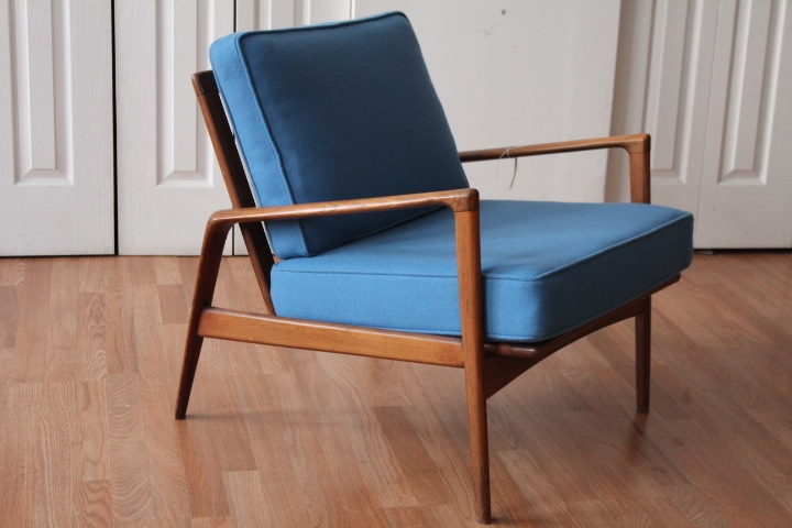 "Mid Century Lounge Sessel Mid Century Modern ""blue Wool"" Lounge Chair"