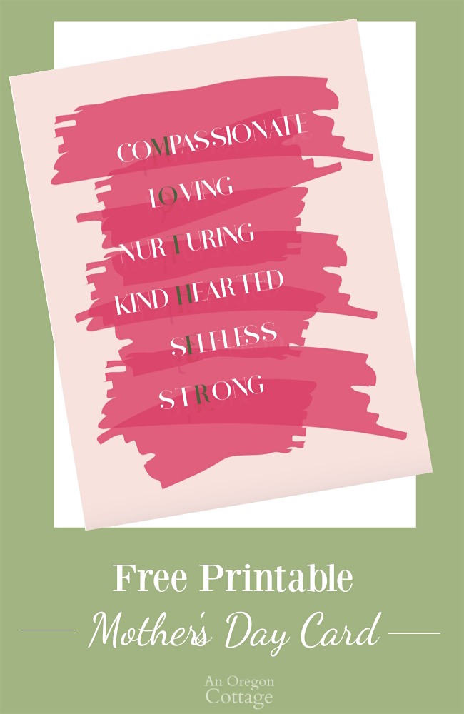 Free Printable Mother\u0027s Day Card An Oregon Cottage - mother s day cards