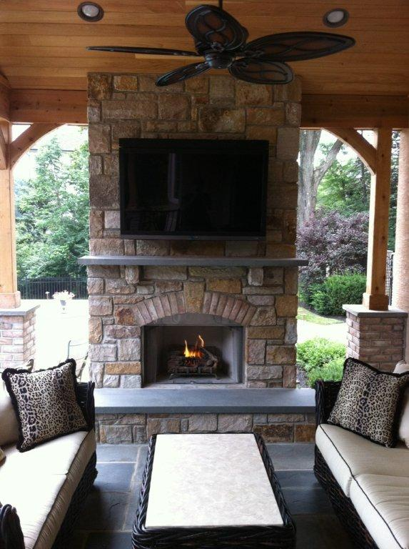 Screened Pavilion Patio And Deck Fireplace Designs- Fireplaces For Decks