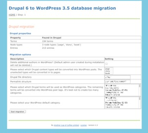 Screenshot of our Drupal to WordPress migration tool