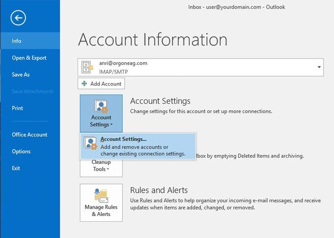 Setting up email in Microsoft Outlook 2016 on Windows 10 - Chicago