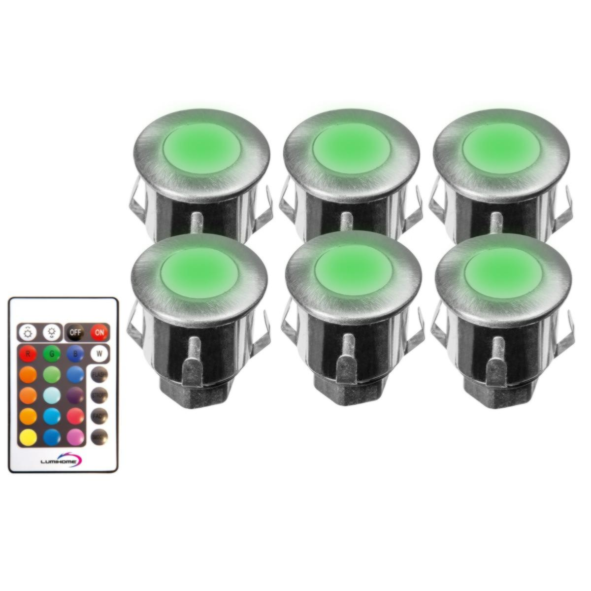 Spot Led Telecommande Spot Terrasse Piscine Rgb 12v Led Ip67 Kit De 6 Spot Led Rgb