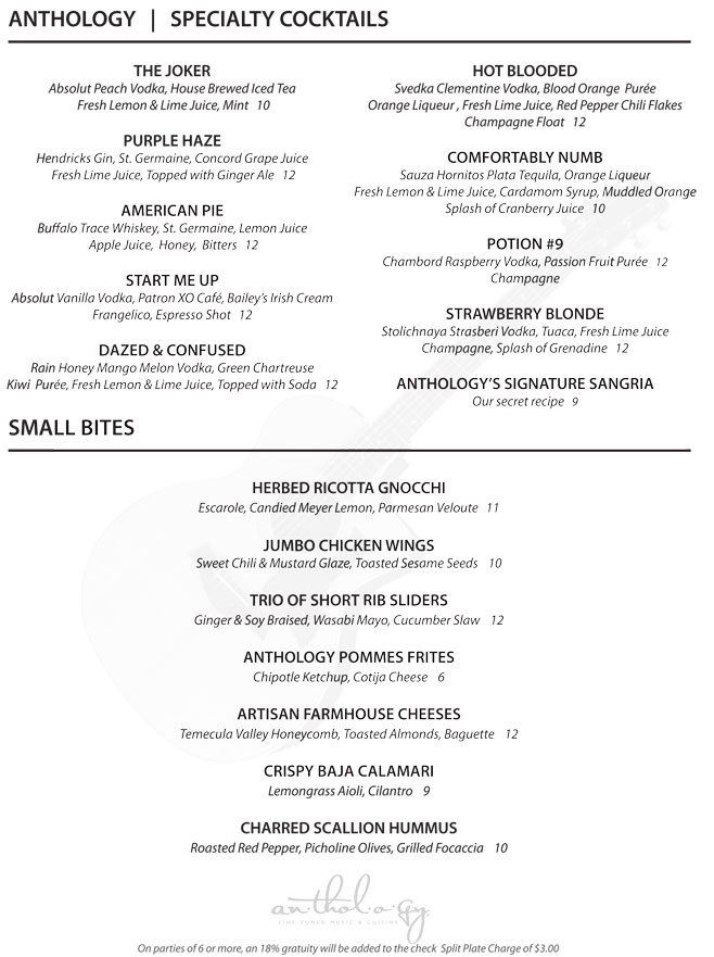 Dinner Menu « Anthology Dining