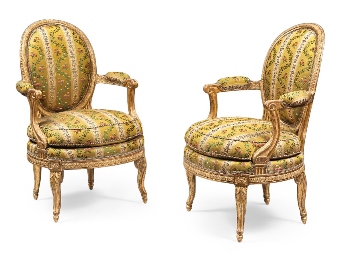 A Rare Pair Of Louis Xvi Gilt Wood Armchairs Ref 60603