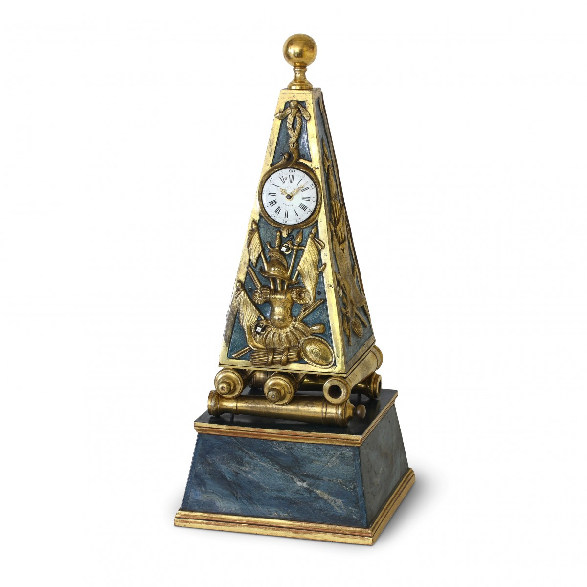 Early French Louis Xv Obelisk Clock With Military Attributes Ref 70174