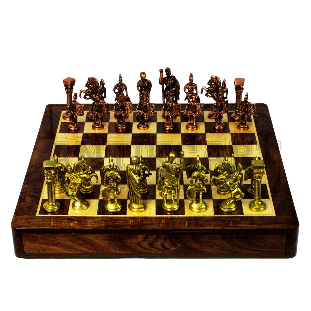 Chess Board Sale Rosewood Chess Board And Brass Roman Chess Pieces Antikcart