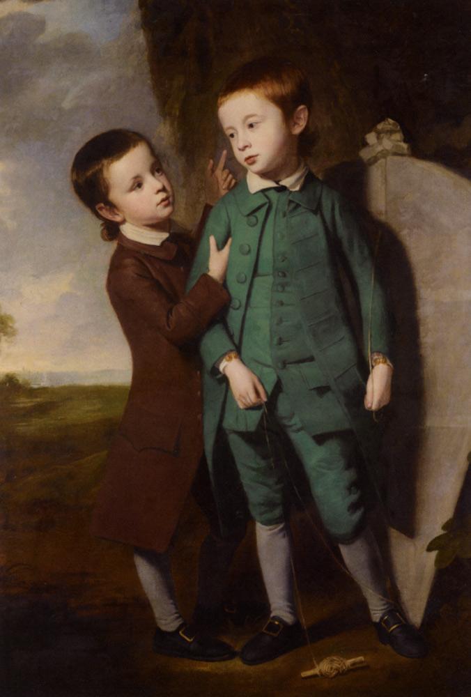 Πορτρέτο δύο αγοριών με ένα χαρταετό - George Romney
