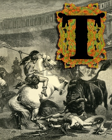 12937824-luxurious-victorian-initials-letter-t-after-a-engraving-a-bull-fight-edited-by-the-graphic--london-c