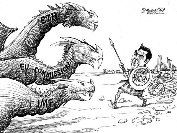 karikatur für tribüne- Tsipras-griechisches held