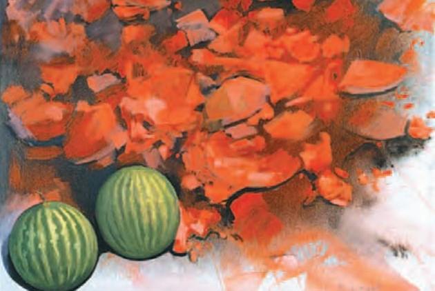 «Τα καρπούζια», Κώστας Τσόκλης, 1996, ακρυλικό σε μουσαμά
