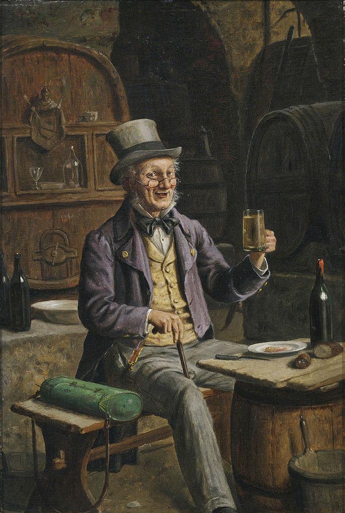 Πότης μπύρας στο κελάρι με το βαρέλι Hermann Kern