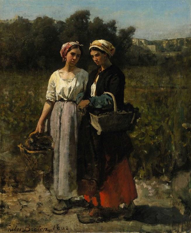Δύο νεαρές γυναίκες μαζεύουν σταφύλια (Μελέτη για τον τρύγο στο Château Lagrange) - Jules-Adolphe Breton - 1862