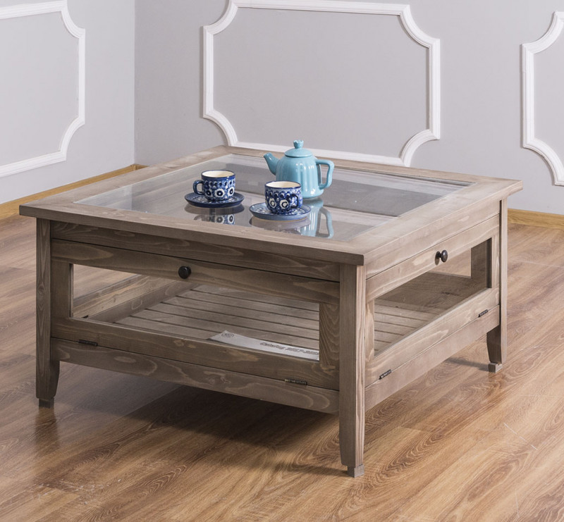 Couchtisch Coffee Table As71 Mit Glasplatte 90x90x45