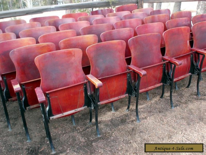 1 Row Of 6 Antique Vintage American Seating Co Wood Movie