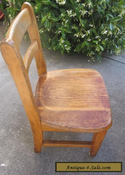 Accent Arm Chair Antique Vintage Child's Wooden School Library Chair Oak