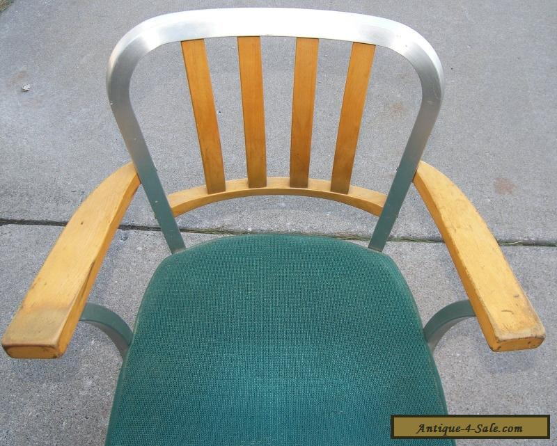 Shaw Walker Mid Century Modern Wood Aluminum Chair With