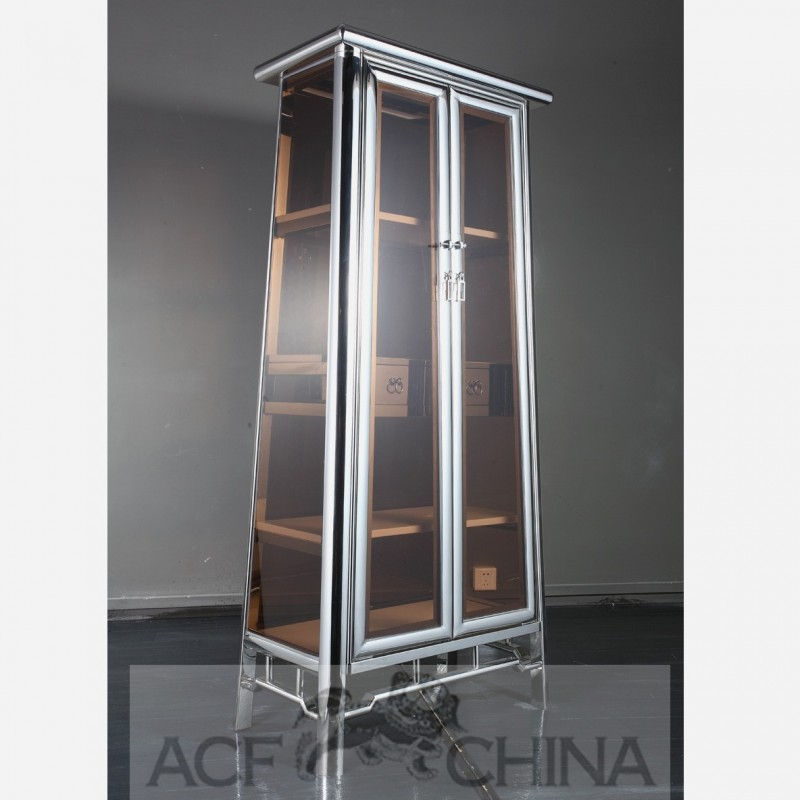 Asian Decor Contemporary Asian Stainless Steel And Glass Cabinet In Chrome