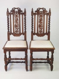 Pair Antique Victorian Gothic Revival Oak Chairs