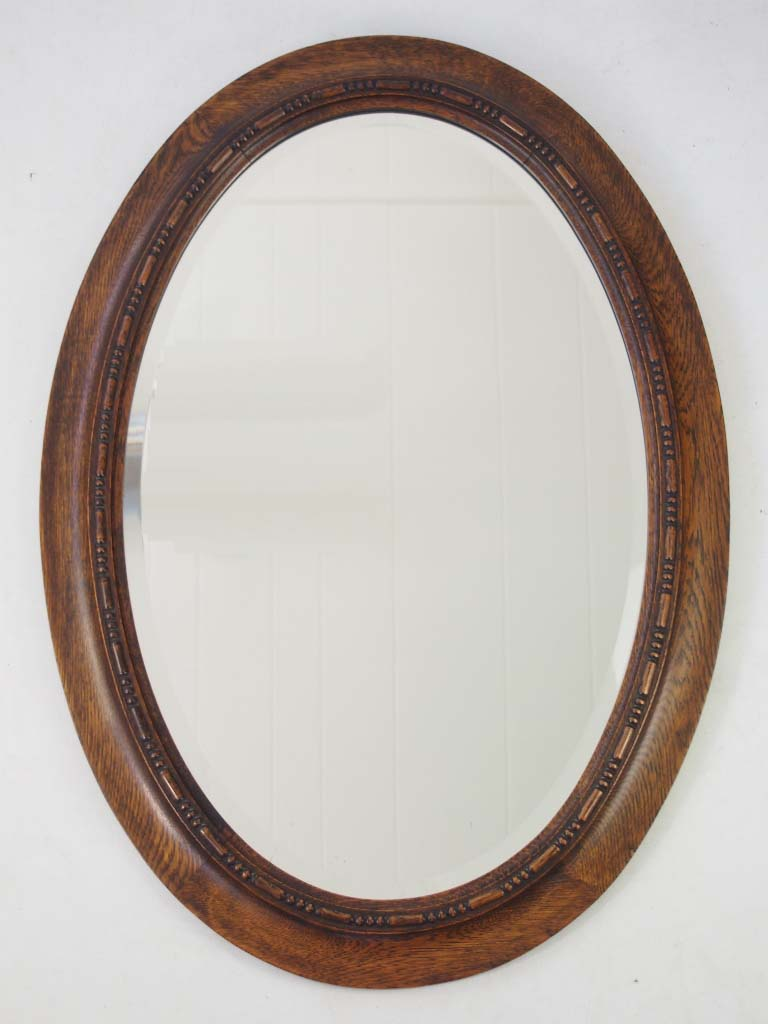 Oval Mirror Wood Frame Edwardian Oak Framed Oval Mirror