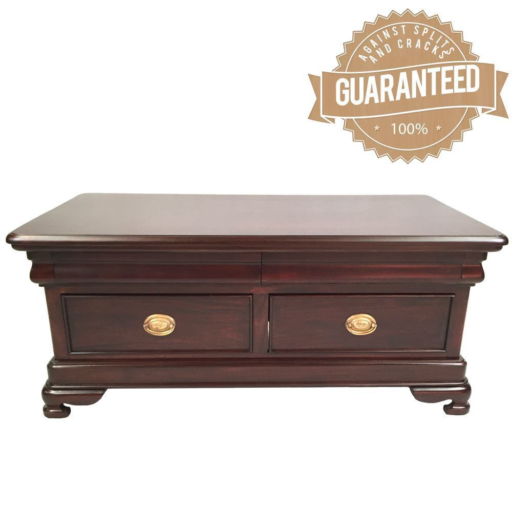 Solid Timber Coffee Table Antique Style Solid Mahogany Timber Coffee Table 4 Drawers 9116