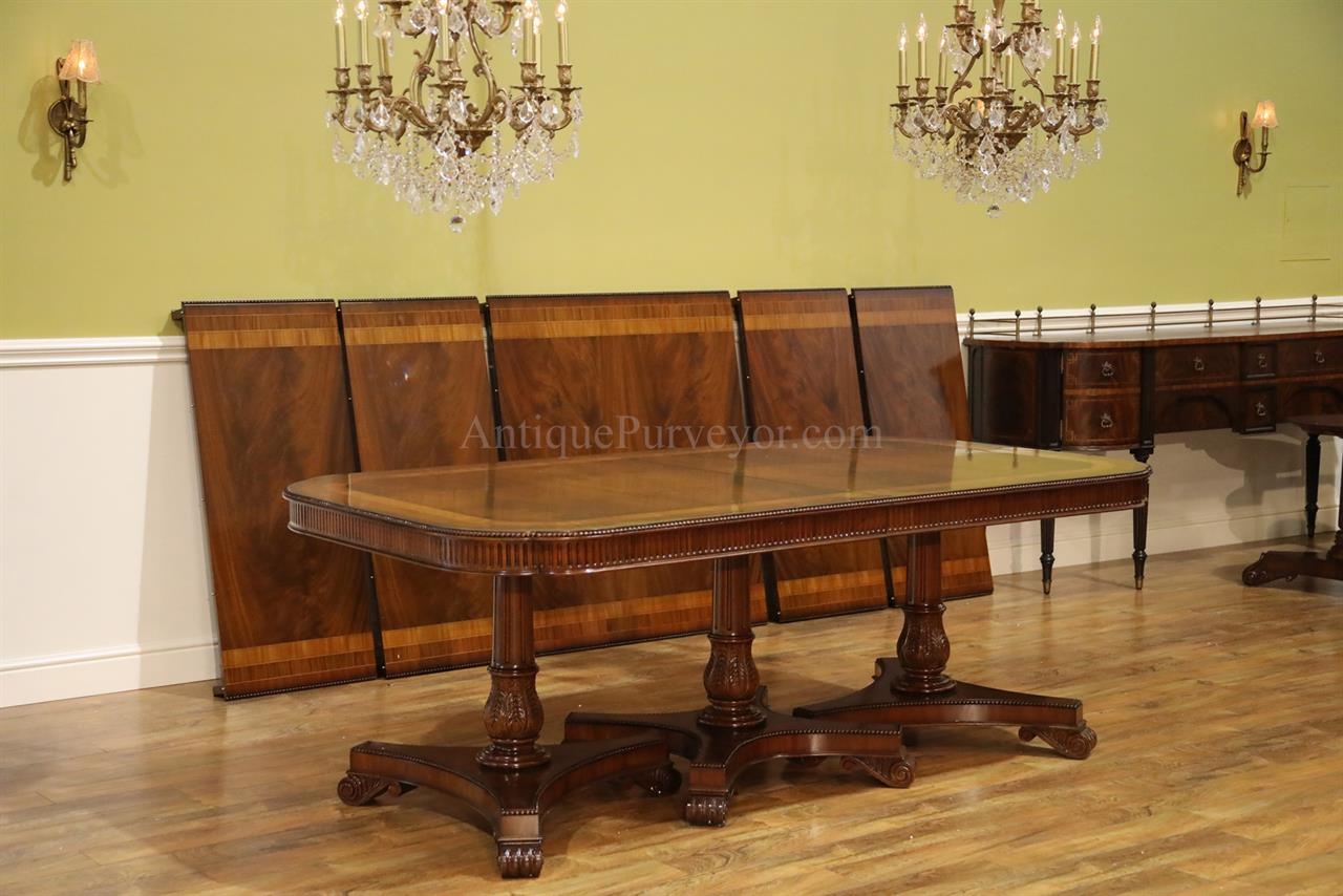 16 Seater Dining Table Regency Style Triple Pedestal Dining Table Opens To 16 Feet