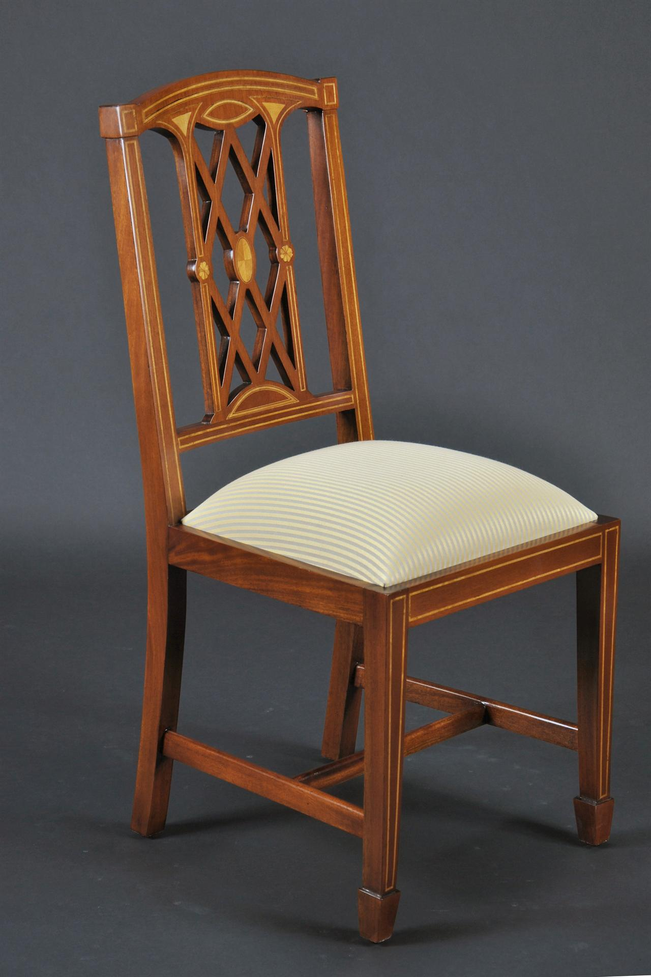 Upholstered Office Chair Edwardian Inlaid Solid Mahogany Dining Room Chairs