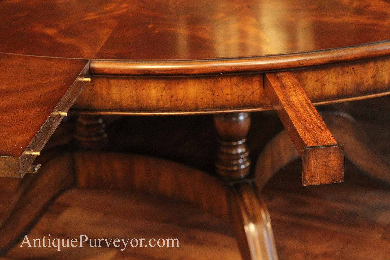 Table With Slide Out Leaves Large 64 88 Inch Expandable Round Mahogany Dining Table