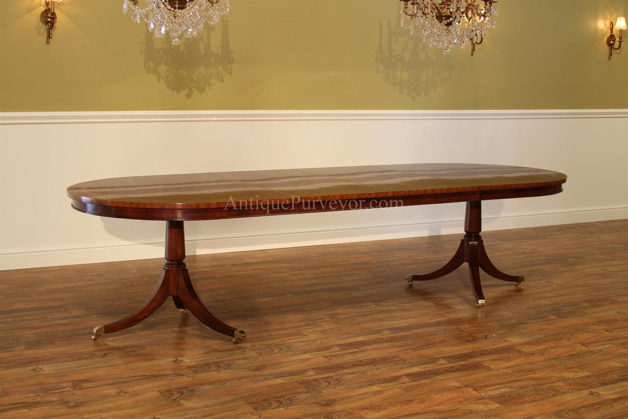 Dining Table For 10 12 Large Oval Inlaid Mahogany Double Pedestal Dining Room Table