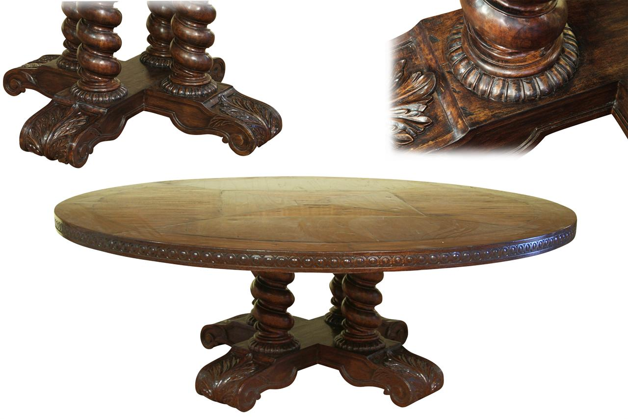 Round Oak Dining Table Extra Large Round Dining Table Solid Oak Chestnut Finish Jacobian