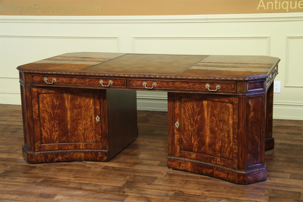 Mahogany Office Desk Leather Top Partners Desk File For The Traditional High End Office