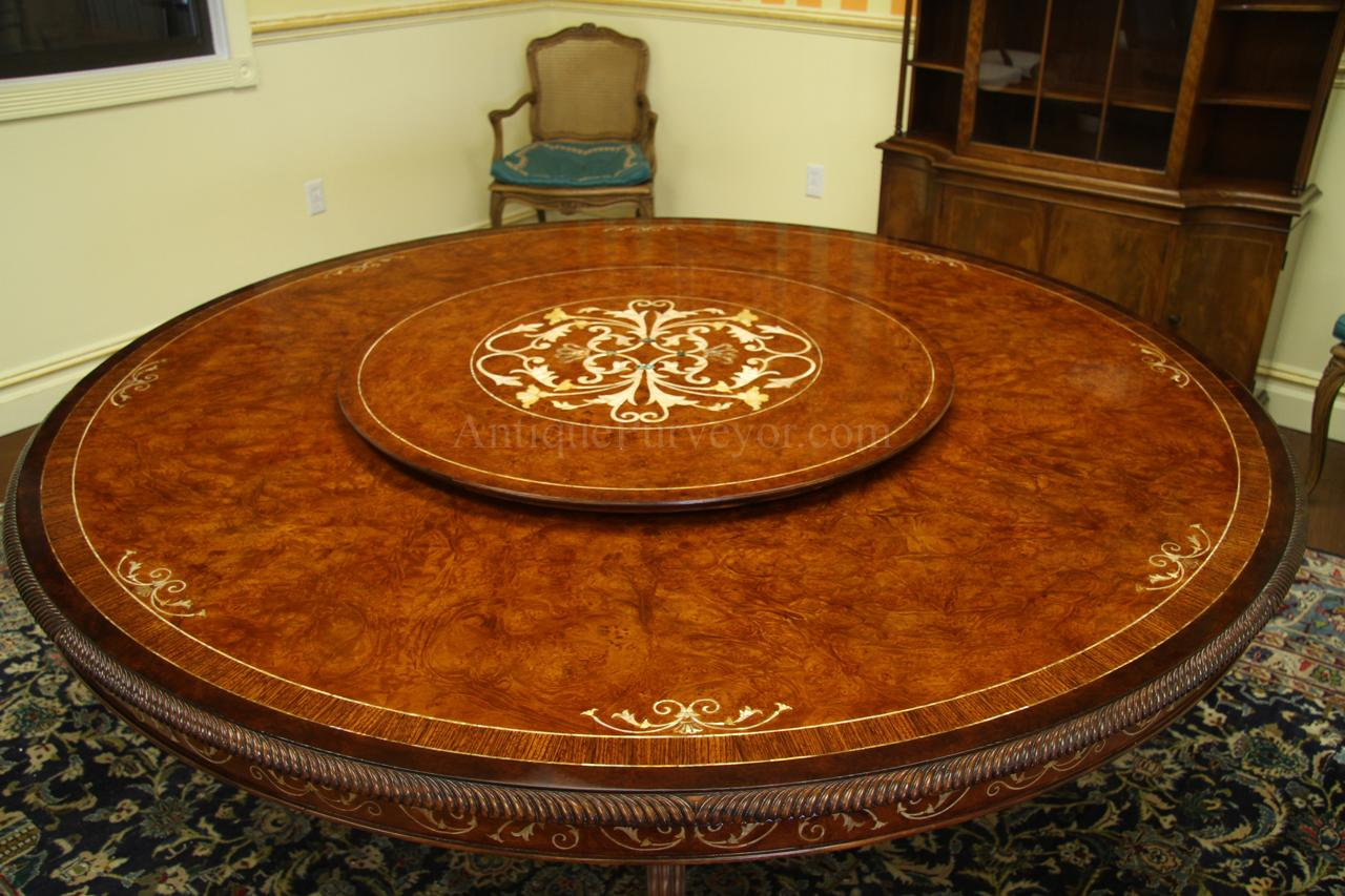 Lazy Susan Table 72 Inch Round Walnut Dining Table With Lazy Susan For Sale