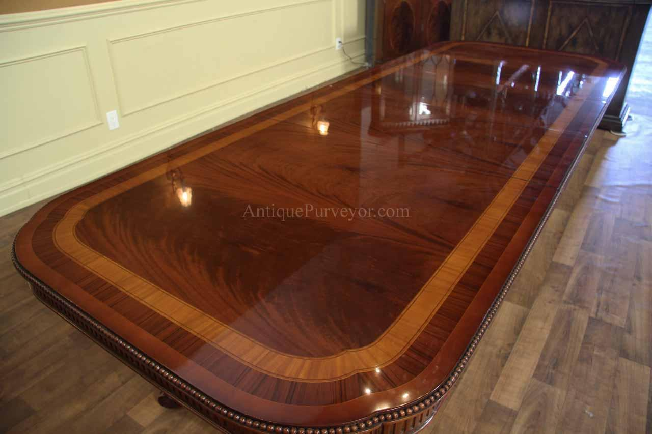 Dining Room Table Seats 10 12 Narrow Regency Style Inlaid Mahogany Dining Table Seats