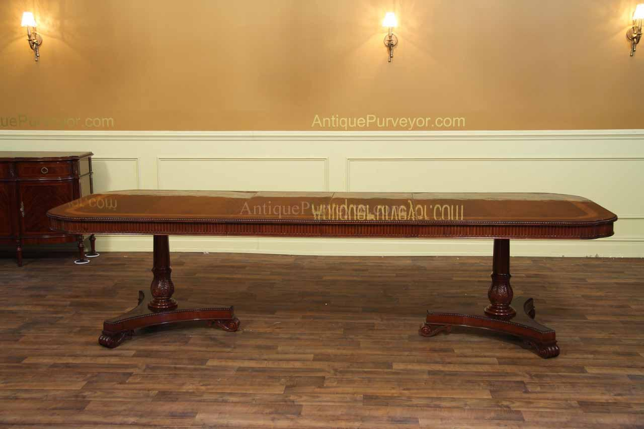 Dining Table For 10 12 Narrow Regency Style Inlaid Mahogany Dining Table With Leaves Seats12