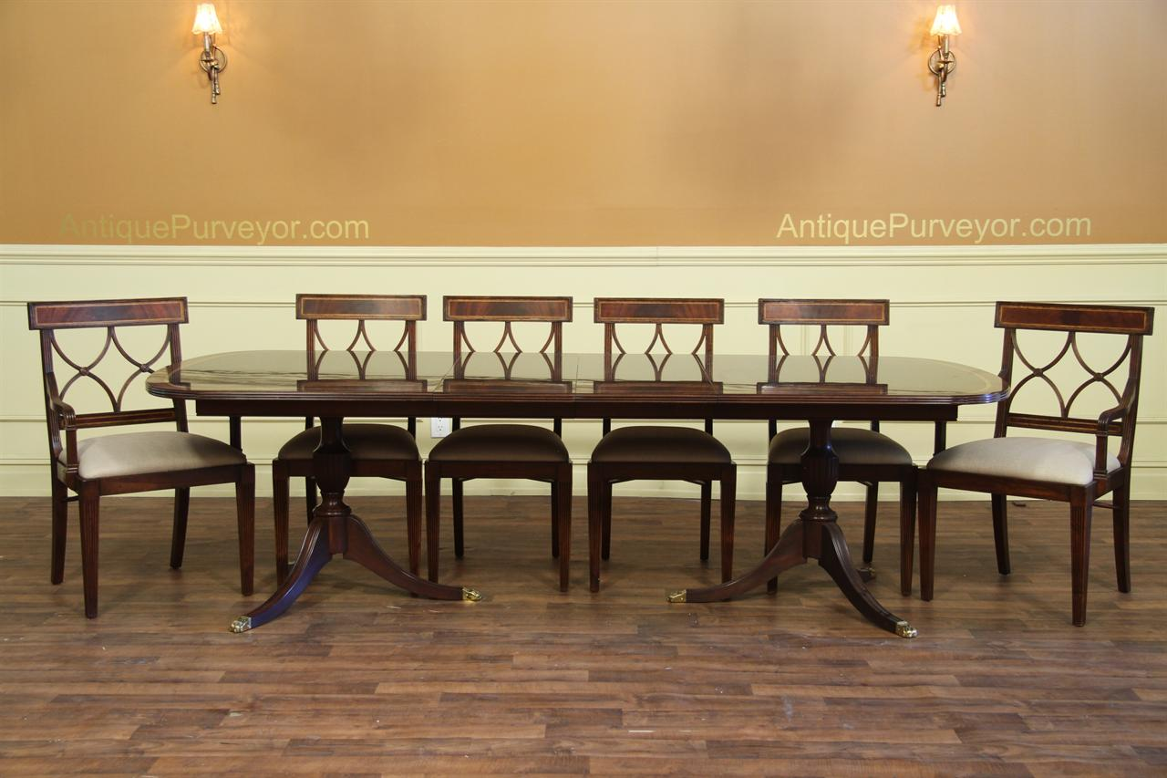 Dining Table Seating 10 New American Made Double Pedestal Dining Table Antique Reproduction