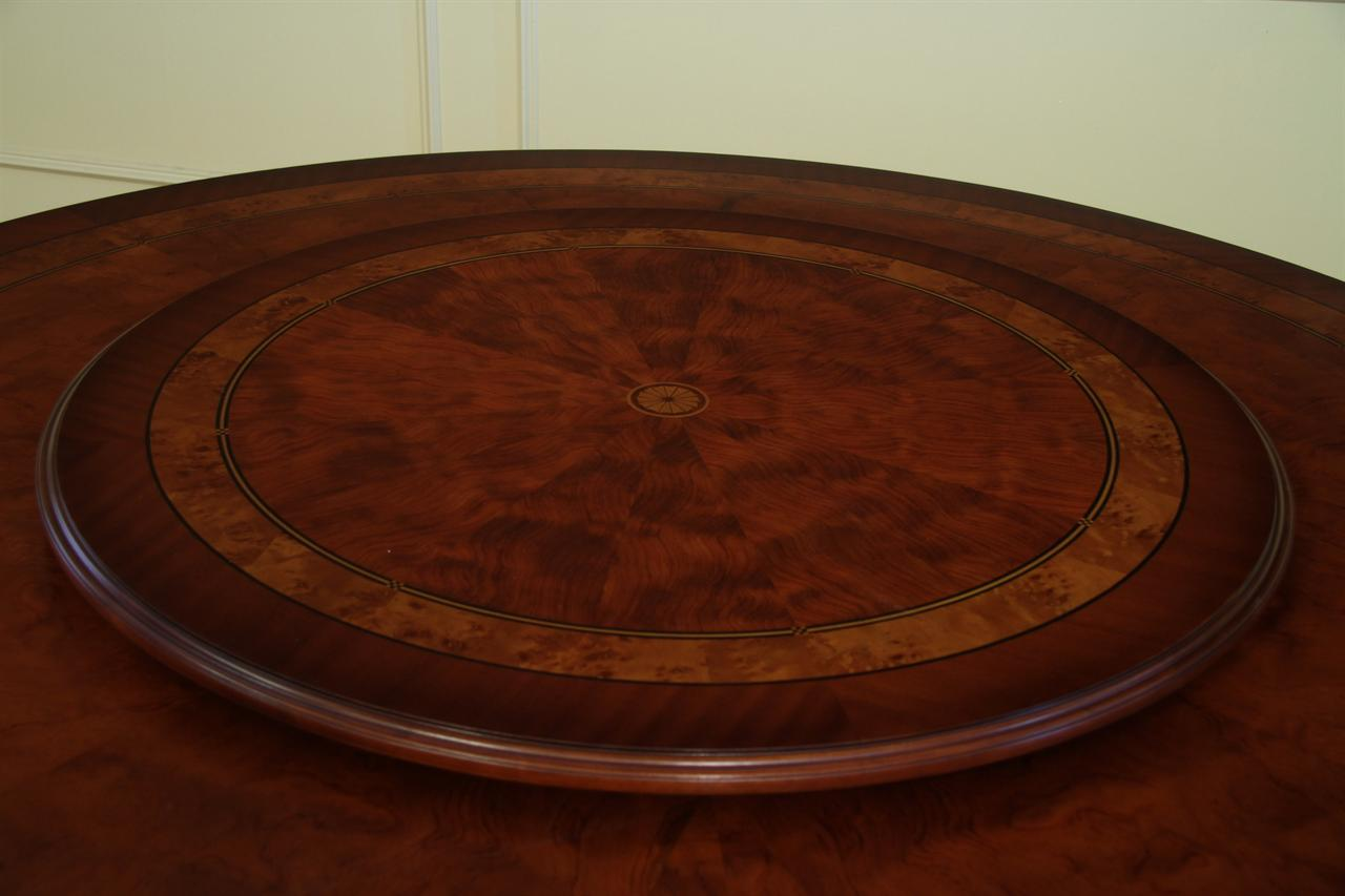 Lazy Susan Table Round Dining Table With Mahogany And Walnut Inaly Gold