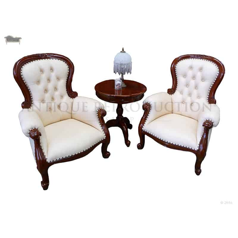 Victorian Coffee Table Grandfather Arm Chair Victorian Antique Reproduction With